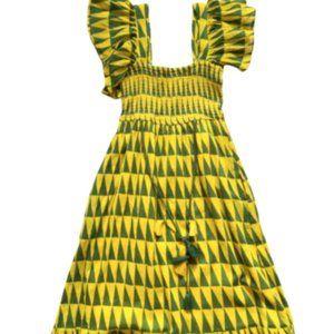 Banjanan Smocked Maxi Dress Women's Small Green Yellow Flutter Sleeve Tassel
